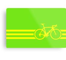 Bike Stripes Yellow Metal Print
