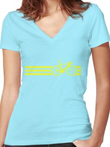 Bike Stripes Yellow Women's Fitted V-Neck T-Shirt