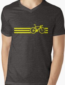 Bike Stripes Yellow Mens V-Neck T-Shirt