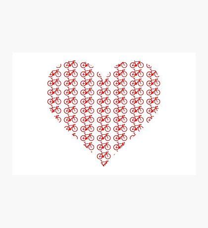Bike Heart (Red) (Small) Photographic Print