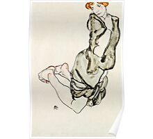 Egon Schiele - Kneeling Woman with a Gray Cape (Wally Neuzil) (1912)  Poster