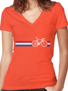 Bike Stripes Netherlands National Road Race Women's Fitted V-Neck T-Shirt
