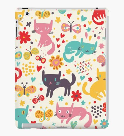 Cute colorful kittens and cats,feline art,kid,kids,pattern,butterflies,flowers,whimsical,modern,trendy iPad Case/Skin