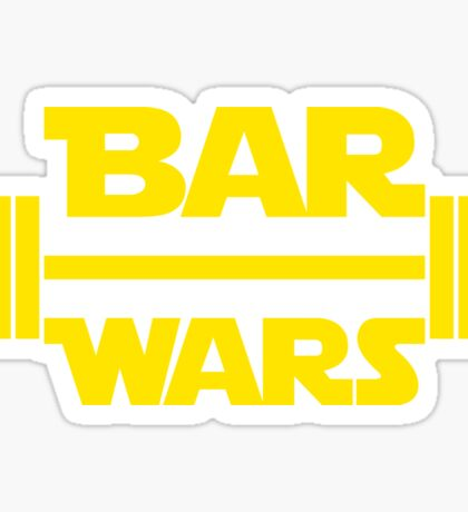 BAR WARS - Yellow/Dark Parody Design for Weight Lifters Sticker