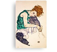 Egon Schiele - Seated Woman with Legs Drawn Up (Adele Herms) (1917)  Canvas Print