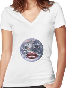 Earth Head Collage Women's Fitted V-Neck T-Shirt