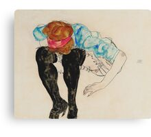 Egon Schiele - Blond Girl, Leaning forward with Black Stockings (1912)  Canvas Print