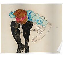 Egon Schiele - Blond Girl, Leaning forward with Black Stockings (1912)  Poster