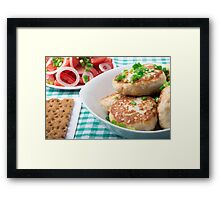 Homemade meatballs close up on the table Framed Print