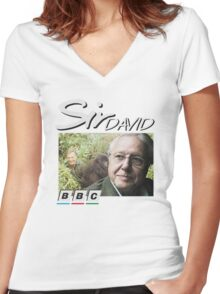 David Attenborough 90s Tee Women's Fitted V-Neck T-Shirt