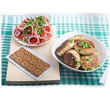 Top view on russian homemade lunch on a green tablecloth Poster