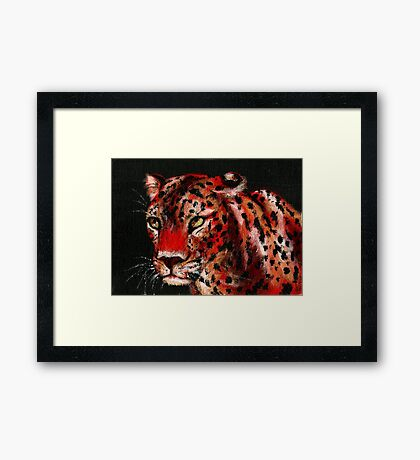 Red Leopard Framed Print