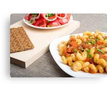 Cavatappi Pasta with sauce of stewed vegetables Canvas Print