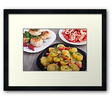Stewed potatoes, meatballs minced chicken and a salad of fresh tomatoes Framed Print