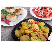 Stewed potatoes, meatballs minced chicken and a salad of fresh tomatoes Poster