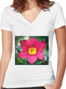 Vibrant Red Lily Women's Fitted V-Neck T-Shirt