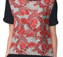 William Morris Floral, Deep Red and Gray / Grey  Chiffon Top