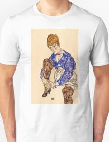 Egon Schiele - Portrait of the Artists Wife Seated, Holding Her Right Leg 1917  Unisex T-Shirt