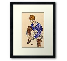 Egon Schiele - Portrait of the Artists Wife Seated, Holding Her Right Leg 1917  Framed Print
