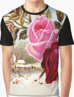 rustic floral design,vintage,winter landscape,red roses,shabby chic,country chic,victorian,original,reproduction Graphic T-Shirt