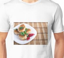 Fried meatballs of minced chicken on a stripe background Unisex T-Shirt