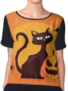High Quality Halloween Cat Tapestry and Candy Bag  Chiffon Top