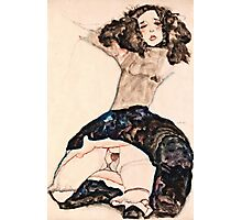Egon Schiele - Black Haired Girl with Lifted Skirt (1911)  Photographic Print