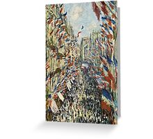 Claude Monet - The Rue Montorgueil in Paris  Celebration of June 30, 1878  Greeting Card