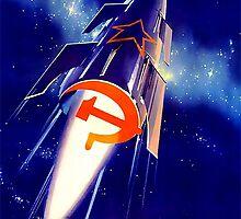 Retro Soviet Space Propoganda Poster - Born To Make Fairytales Come True by verypeculiar