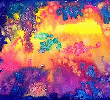 deep space - tie dye watercolor abstract  by arumise