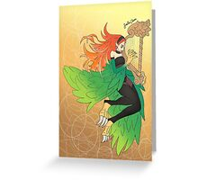 Harpie Harpist Greeting Card