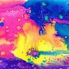 rainbow nebula - tie dye watercolor abstract by arumise