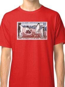 1963 FSAT Adelie Penguins Postage Stamp Classic T-Shirt