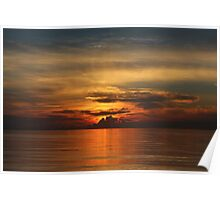 Sun Setting Over the Ocean Poster