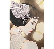 Flapper Girl Illustration Photographic Print