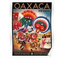 Oaxaca Mexico Costumed Native Dancers Vintage World Travel Poster  Poster
