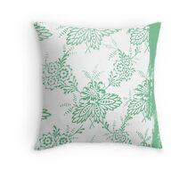 Vintage green floral print Throw Pillow