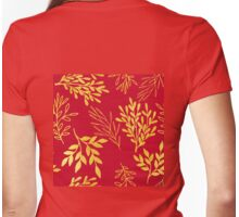 Golden leaves, rich Venetian red pattern Womens Fitted T-Shirt