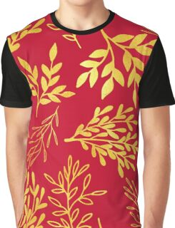 Golden leaves, rich Venetian red pattern Graphic T-Shirt