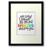 Crazy unicorn Framed Print