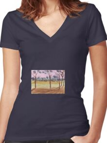 Pink sky by Liz H Lovell Women's Fitted V-Neck T-Shirt