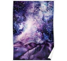 Watercolor Milky Way and Mountains Poster
