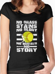 NO GRASS, NO GLORY,  NO BRUISES Women's Fitted Scoop T-Shirt