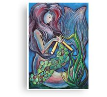 Kitting Mermaid Canvas Print
