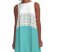 white and aqua floral A-Line Dress