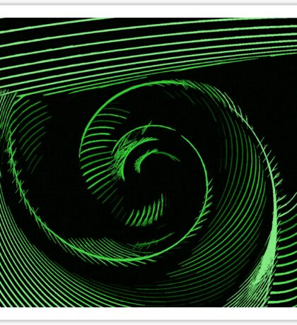 Green spiral, abstraction, visual, optical illusion Sticker