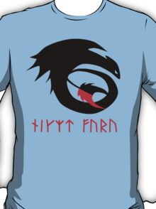 dragon training symbol with night fury written in runes. T-Shirt