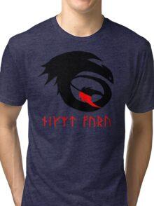 dragon training symbol with night fury written in runes. Tri-blend T-Shirt