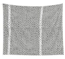 Grey Knit With White Stripe Wall Tapestry