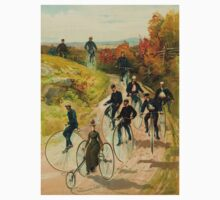 """""""BICYCLE"""" Vintage (1887) Ride in The Park Print One Piece - Short Sleeve"""